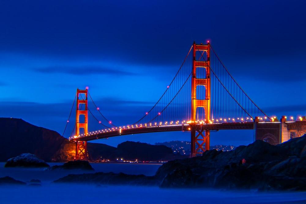 Golden Gate bridge with lights turn on