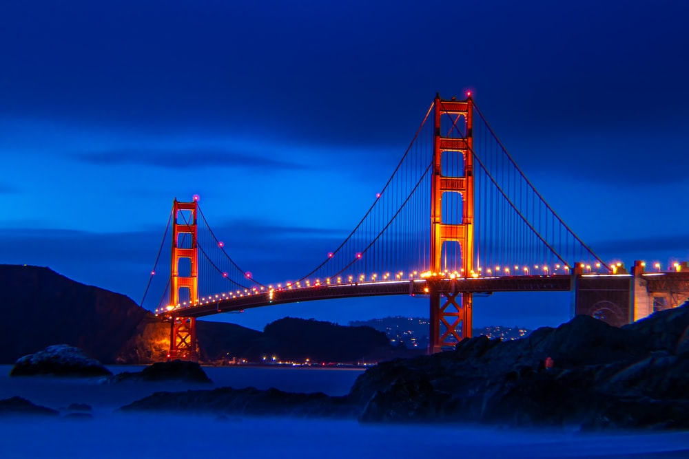 Golden Gate bridge with lights turn on
