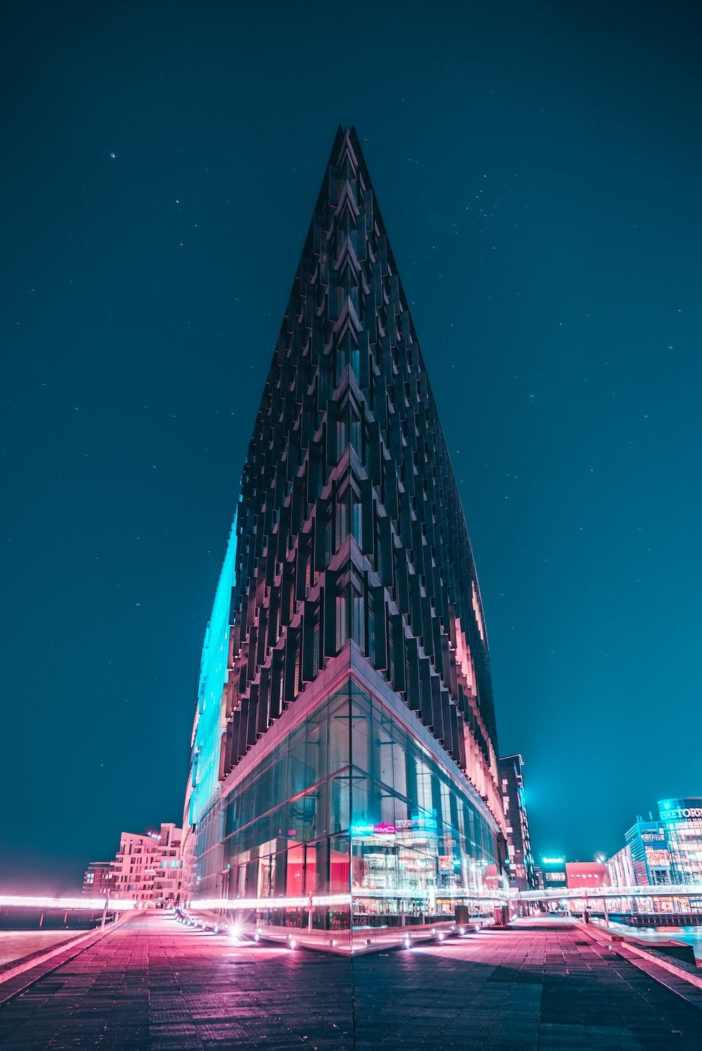 gray concrete building under starry night