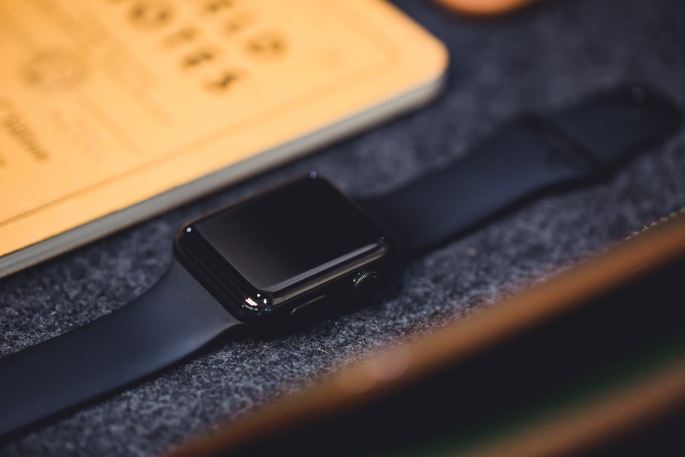space black stainless steel case Apple Watch with black Sport Band