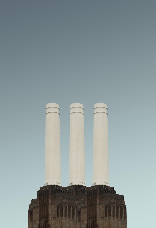 photo of three white pillars