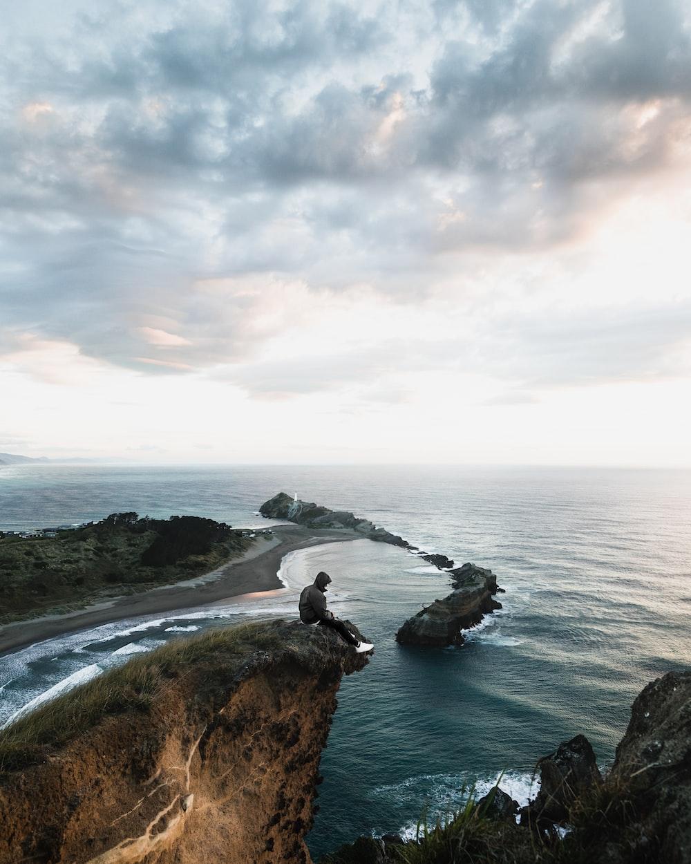 high angle photo of shore
