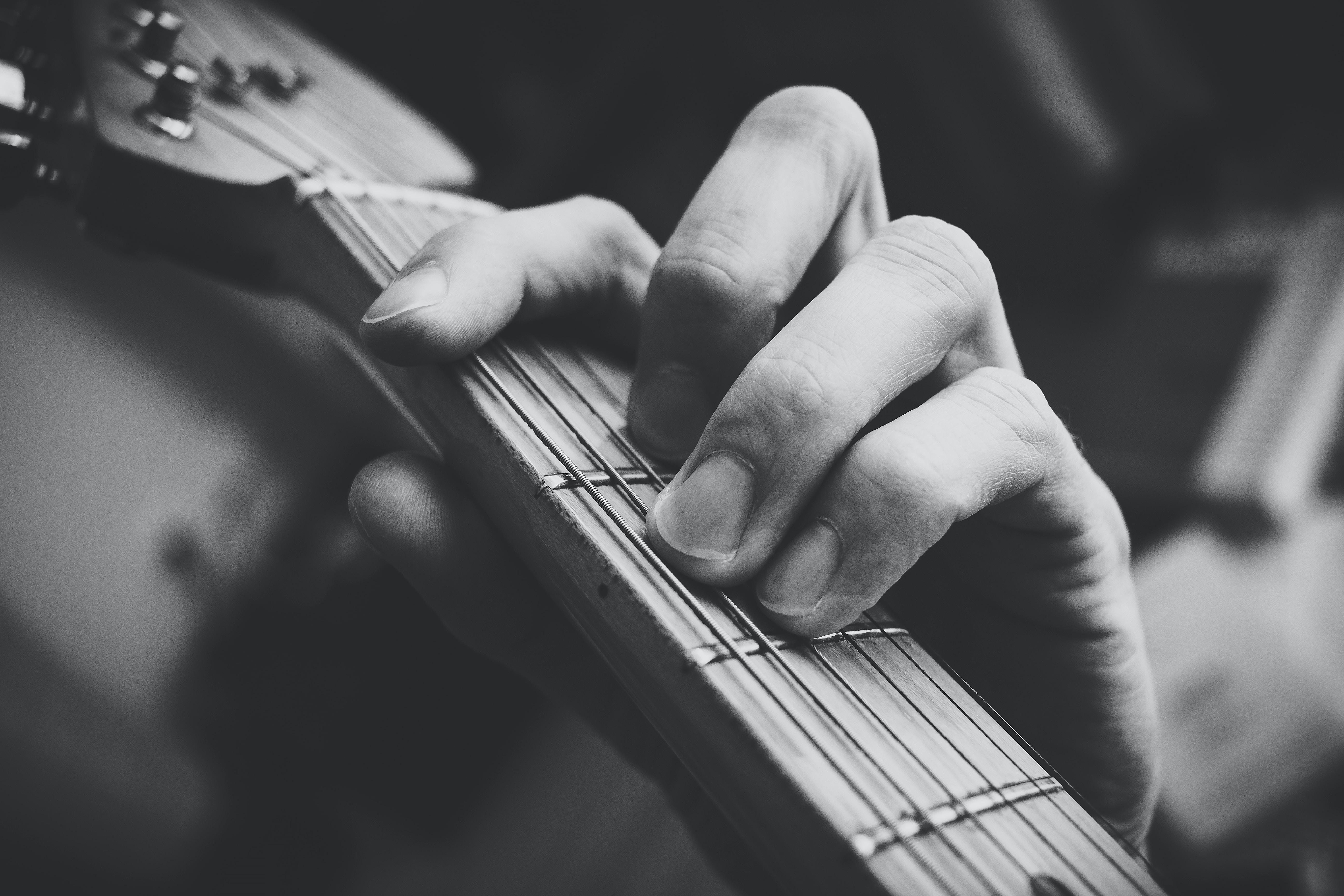 tilt shift photo of guitar clef