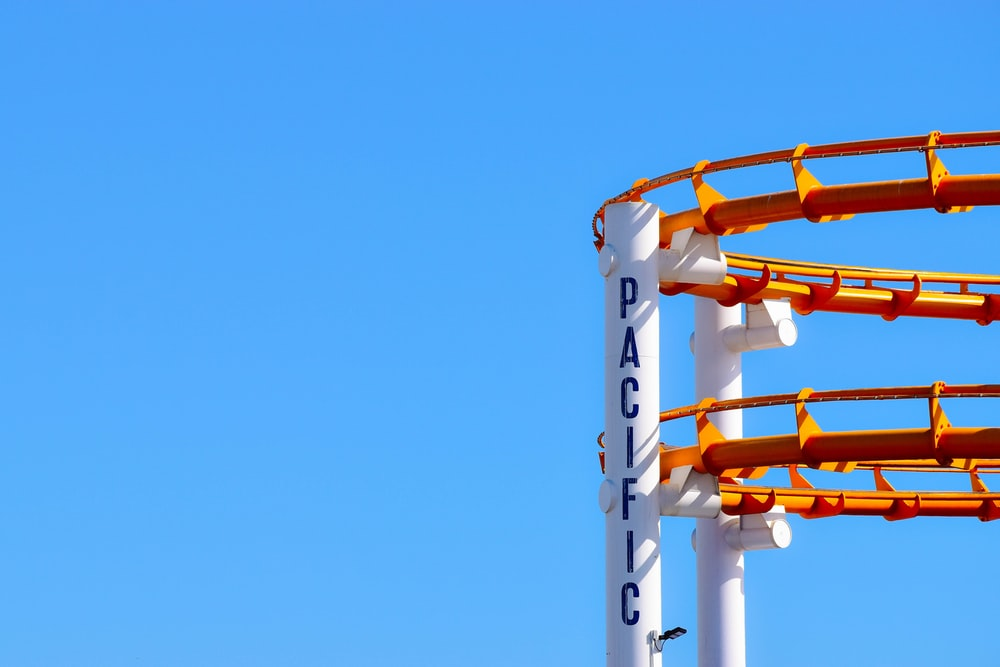 roller coaster under blue sky