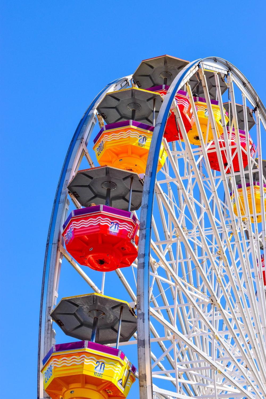 photo of a Ferris wheel under blue skies