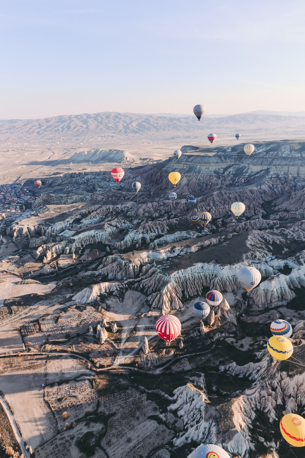 hot air balloons flew in mid air