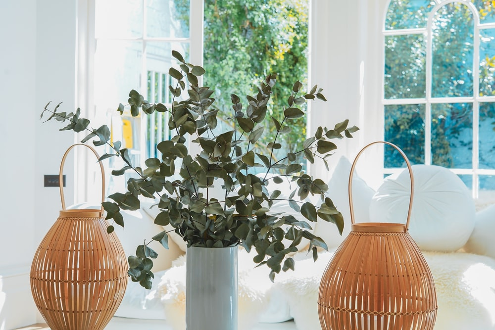 two beige table decors