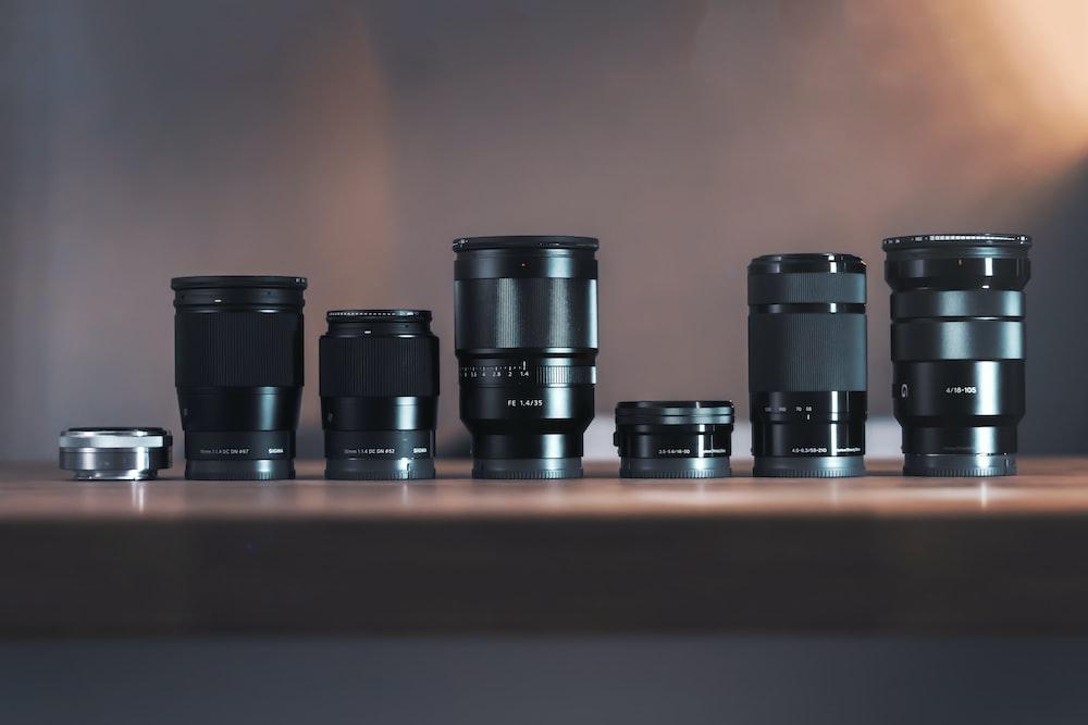 six black DSLR lens