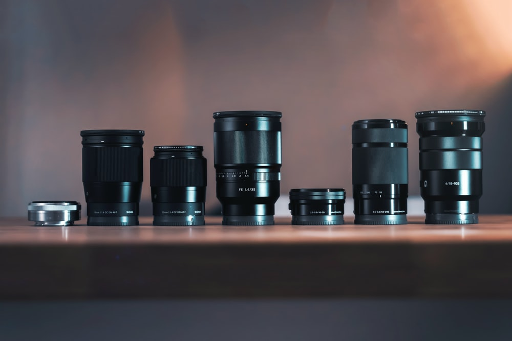 six black DSLR lens