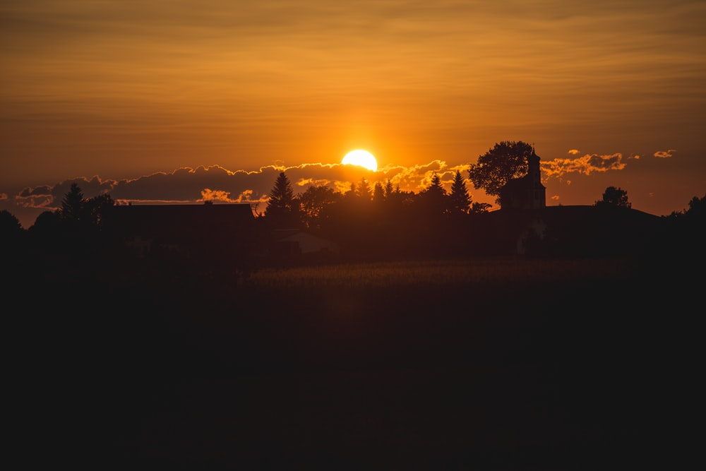 golden hour photography of sunset