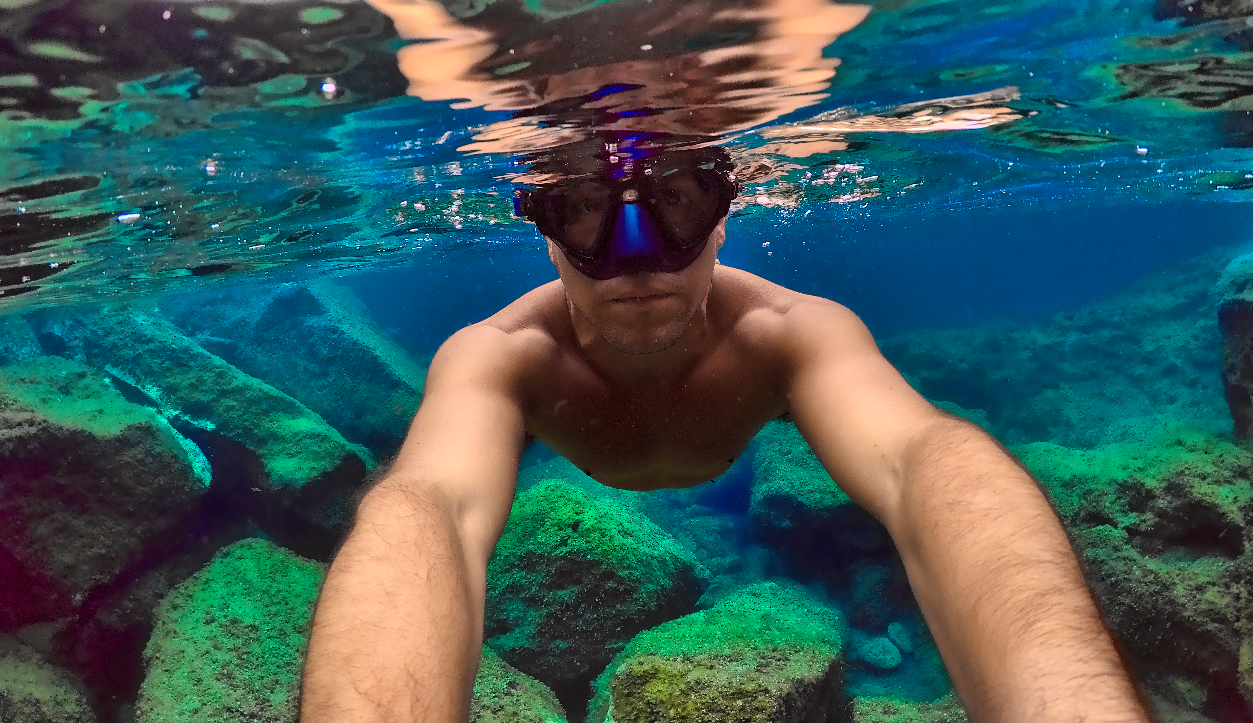 underwater photography of man