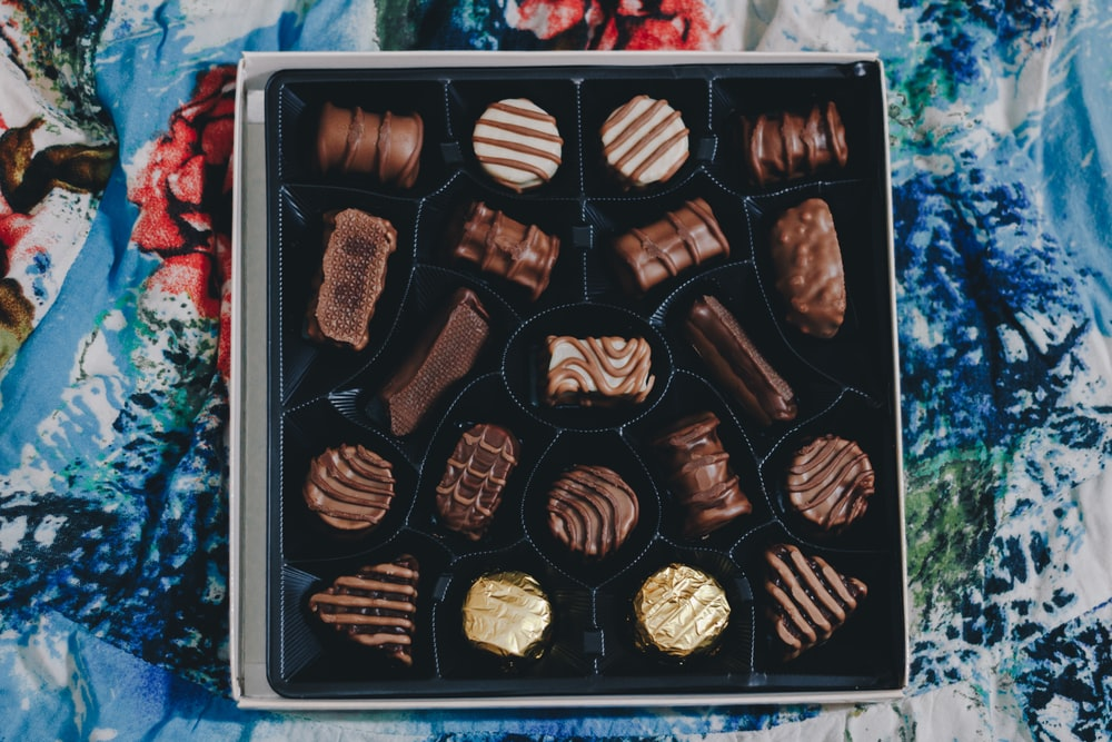assorted chocolates in box
