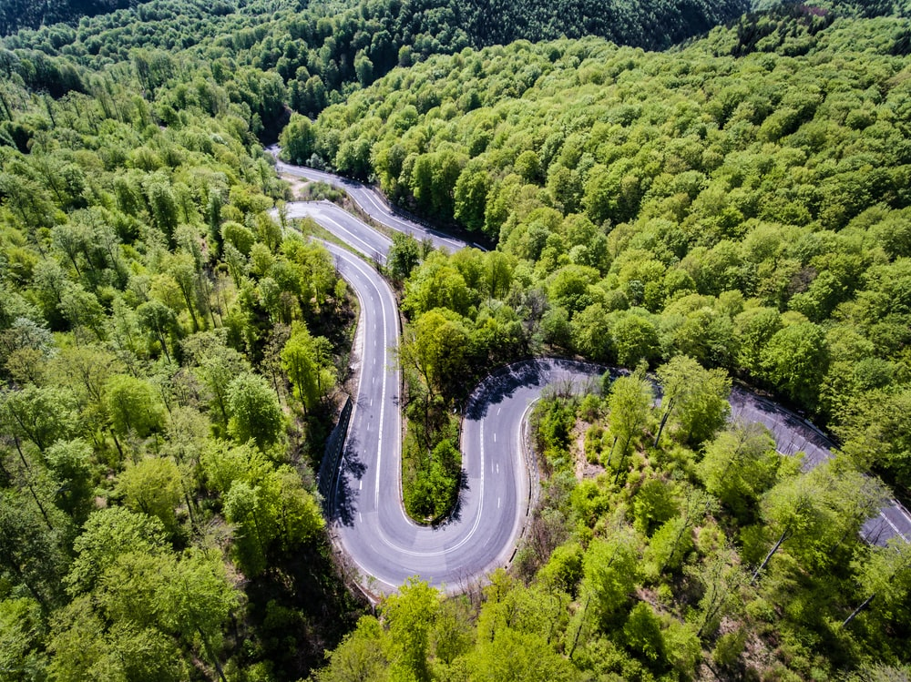 aerial view photography of mountain pass surrounded by trees
