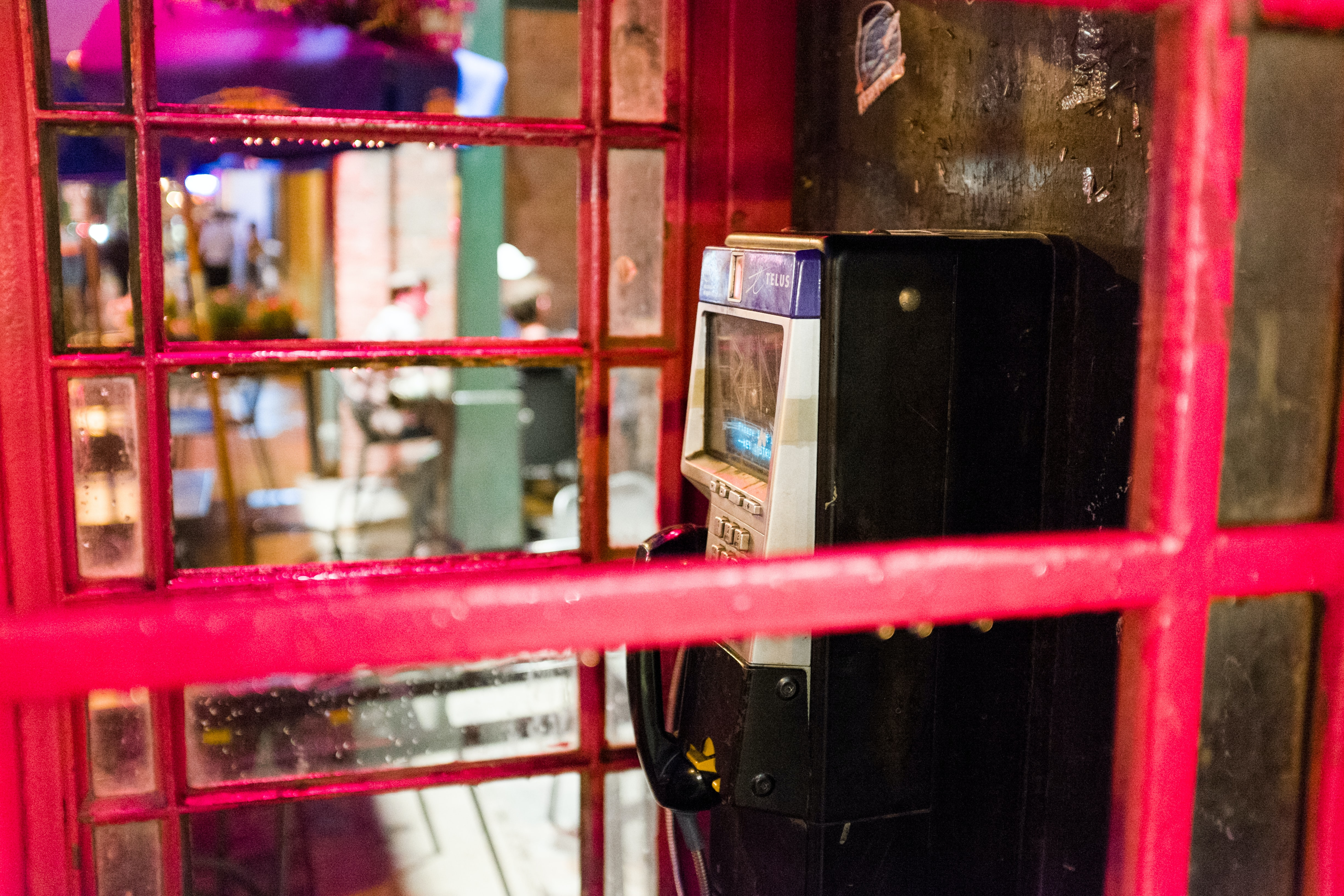 closeup of telephone booth