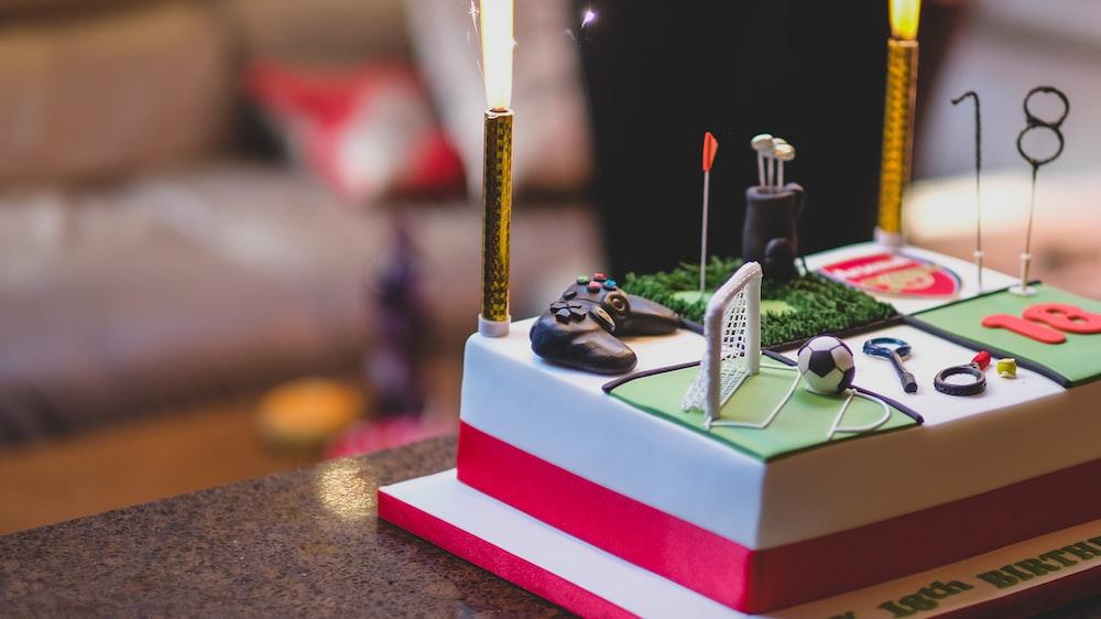 fondant cake on table