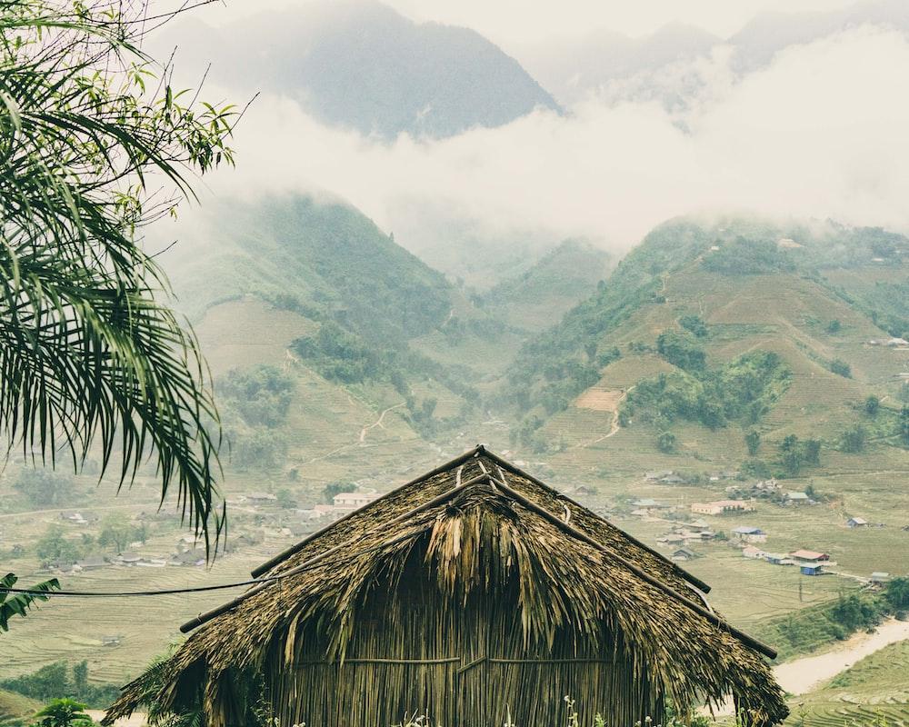 brown nipa hut near mountain