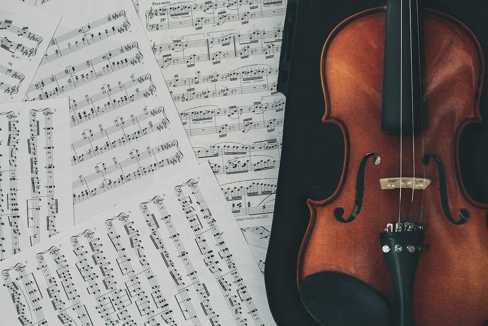 ケース付きブラウンバイオリン