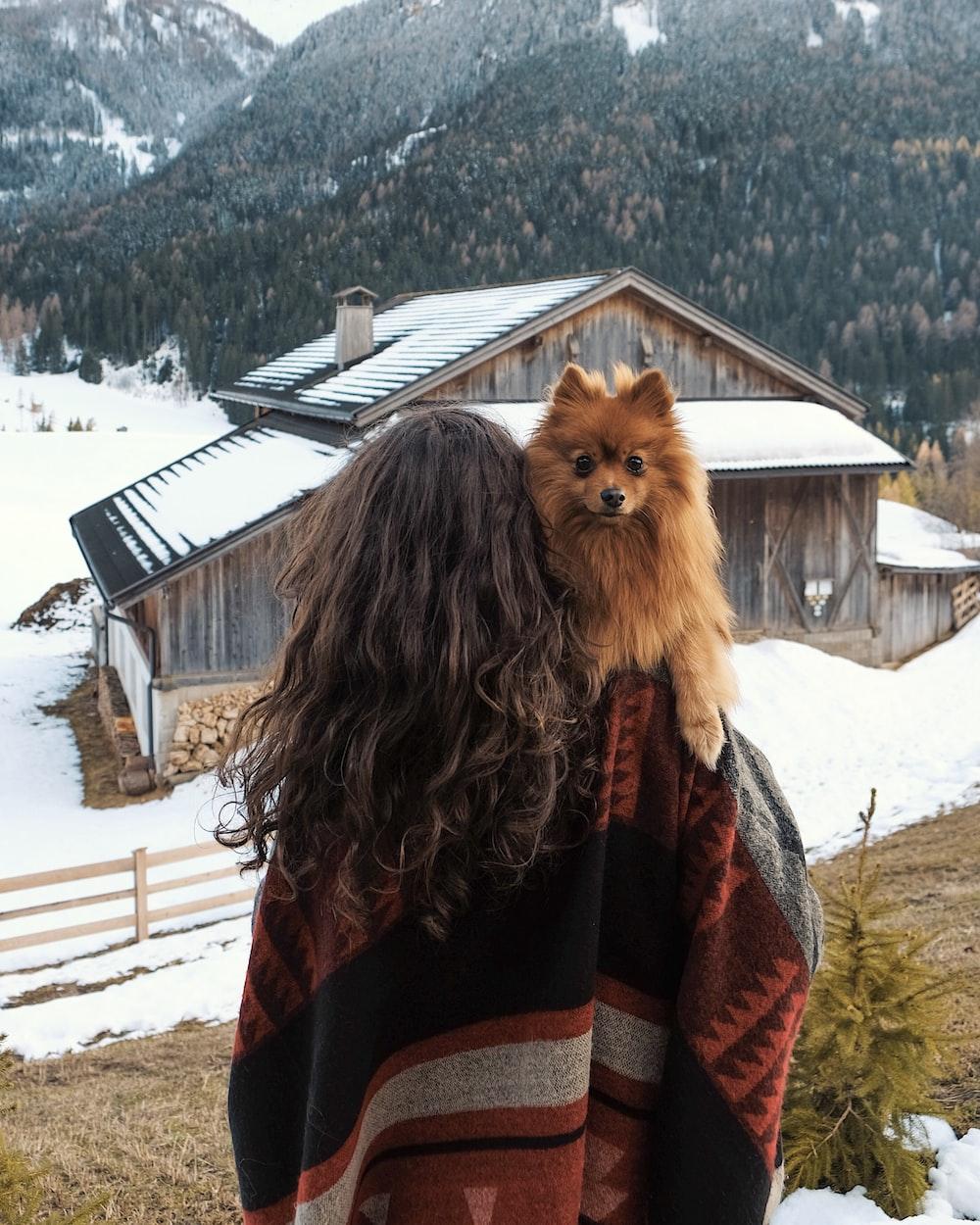 woman carrying dog walking towards cabin