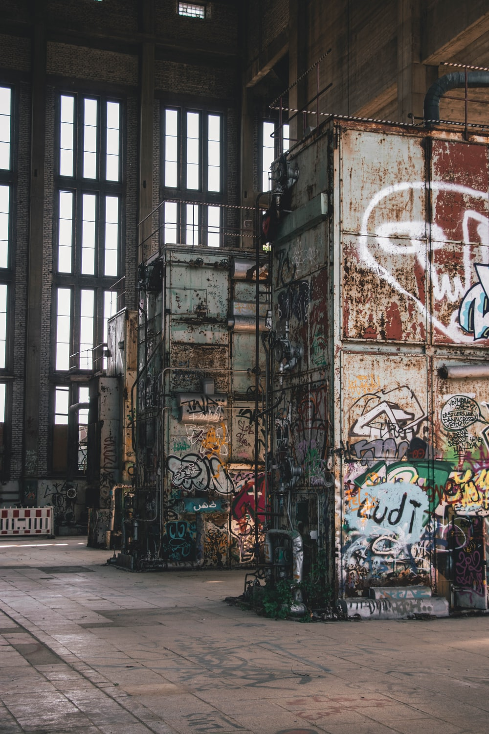 photography of intermodal containers with graffiti