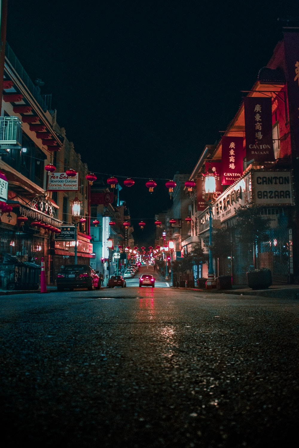 Canton Bazaar storefront during nighttime