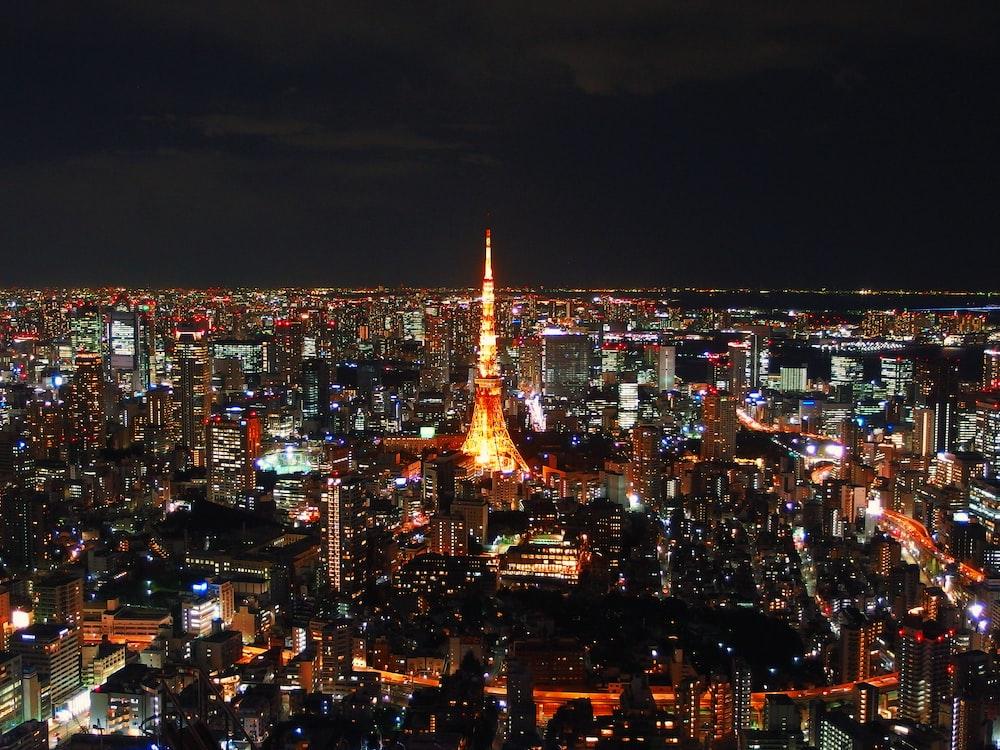 Tokyo Tower, Japan during nighttime