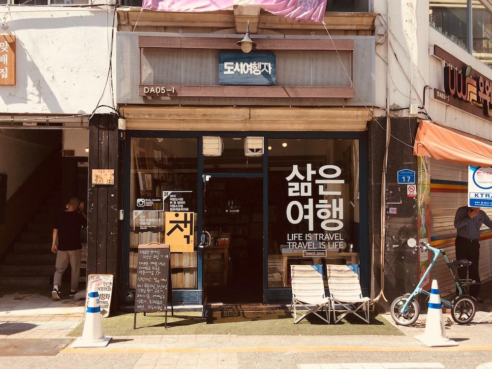photography of bike near store facade
