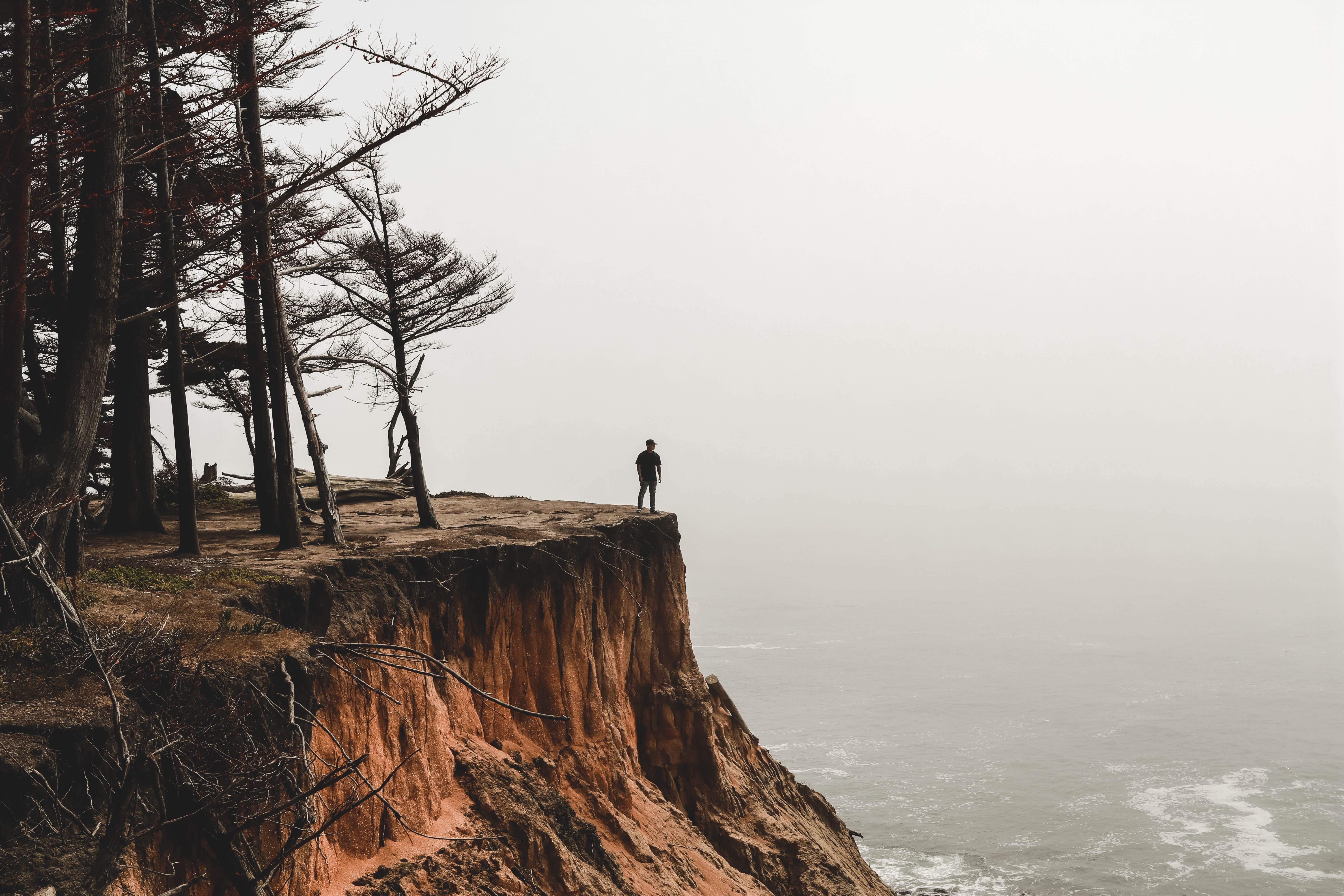 person standing on mountain cliff