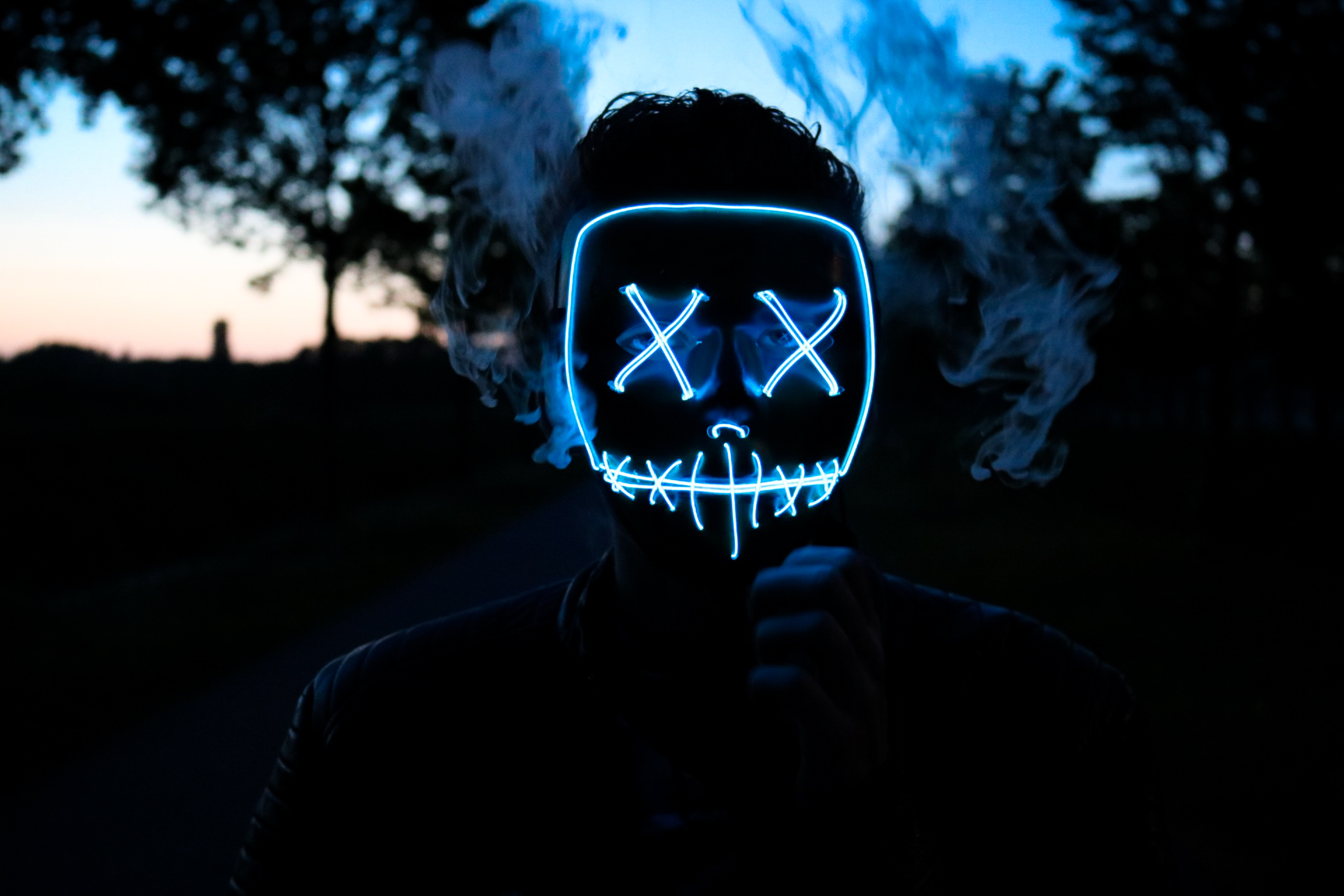 man wearing LED mask