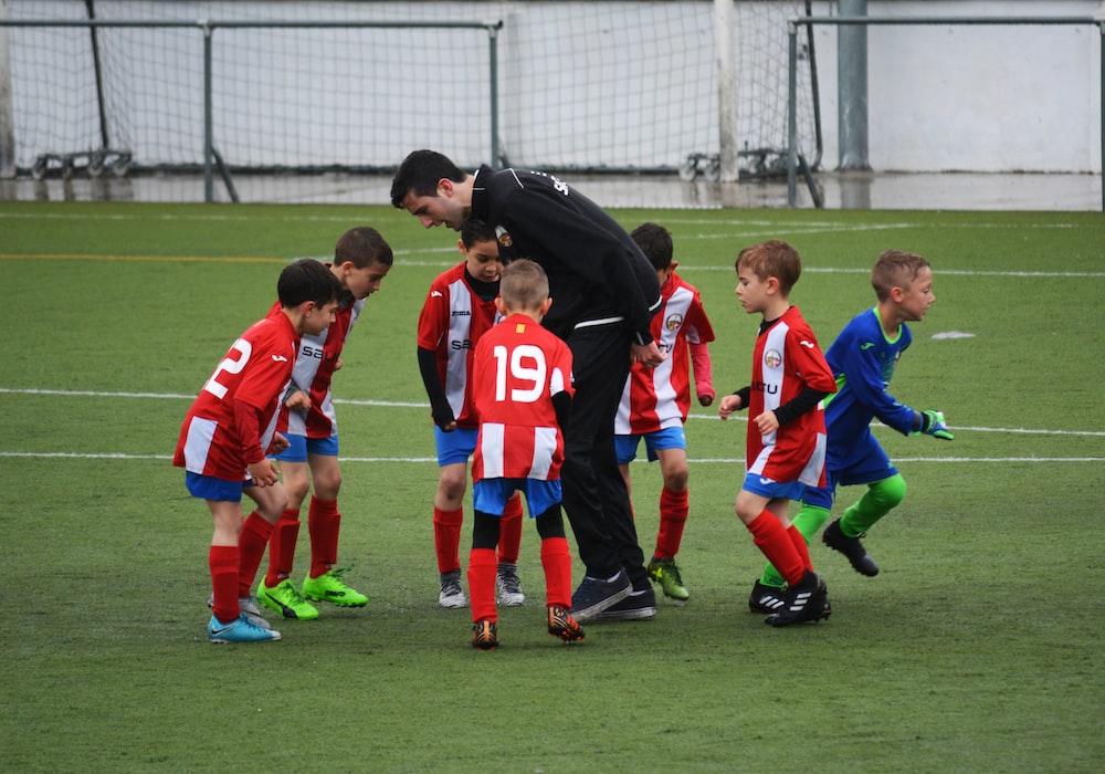 children playing soccer