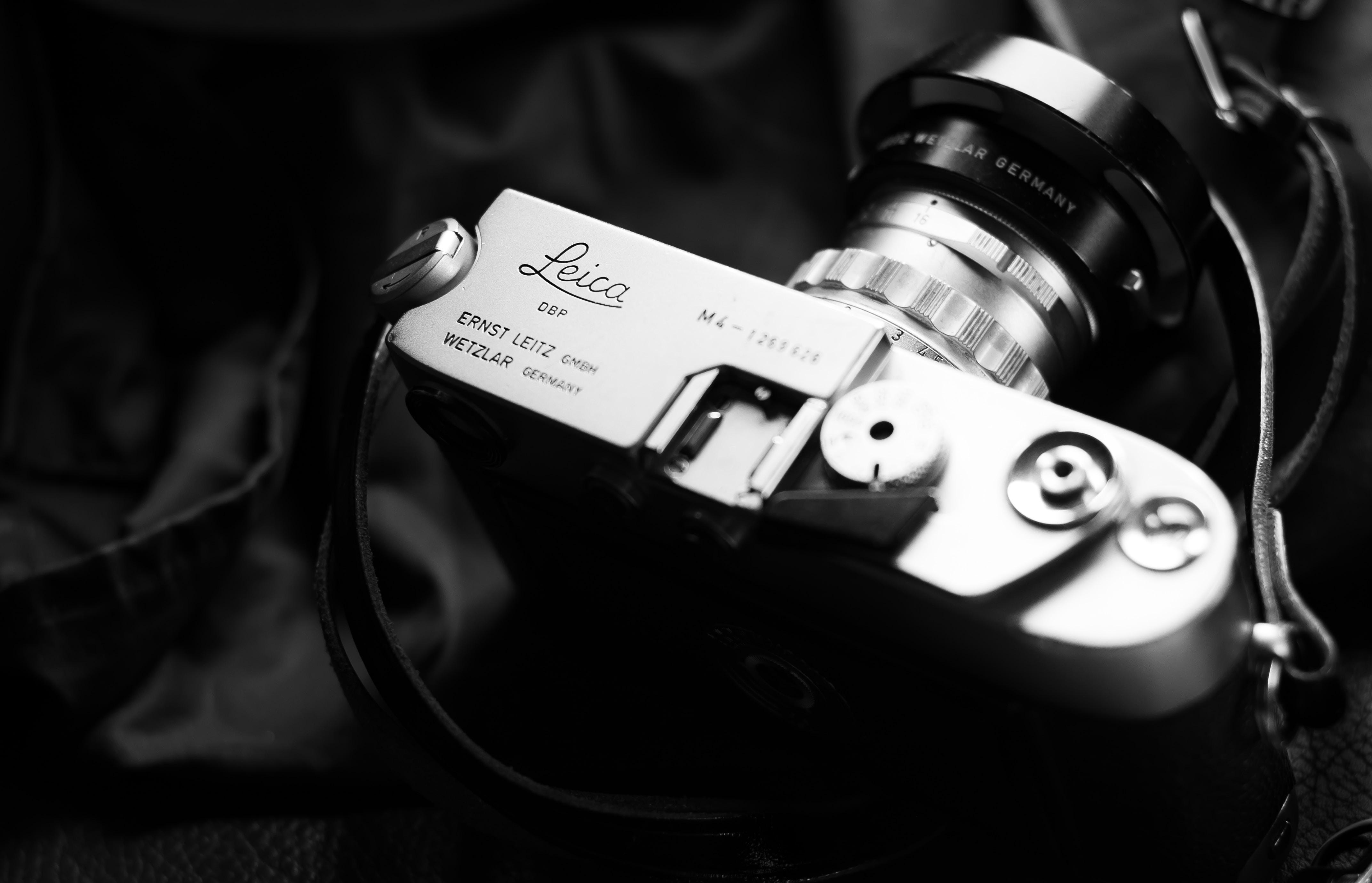 grayscale photo of land camera