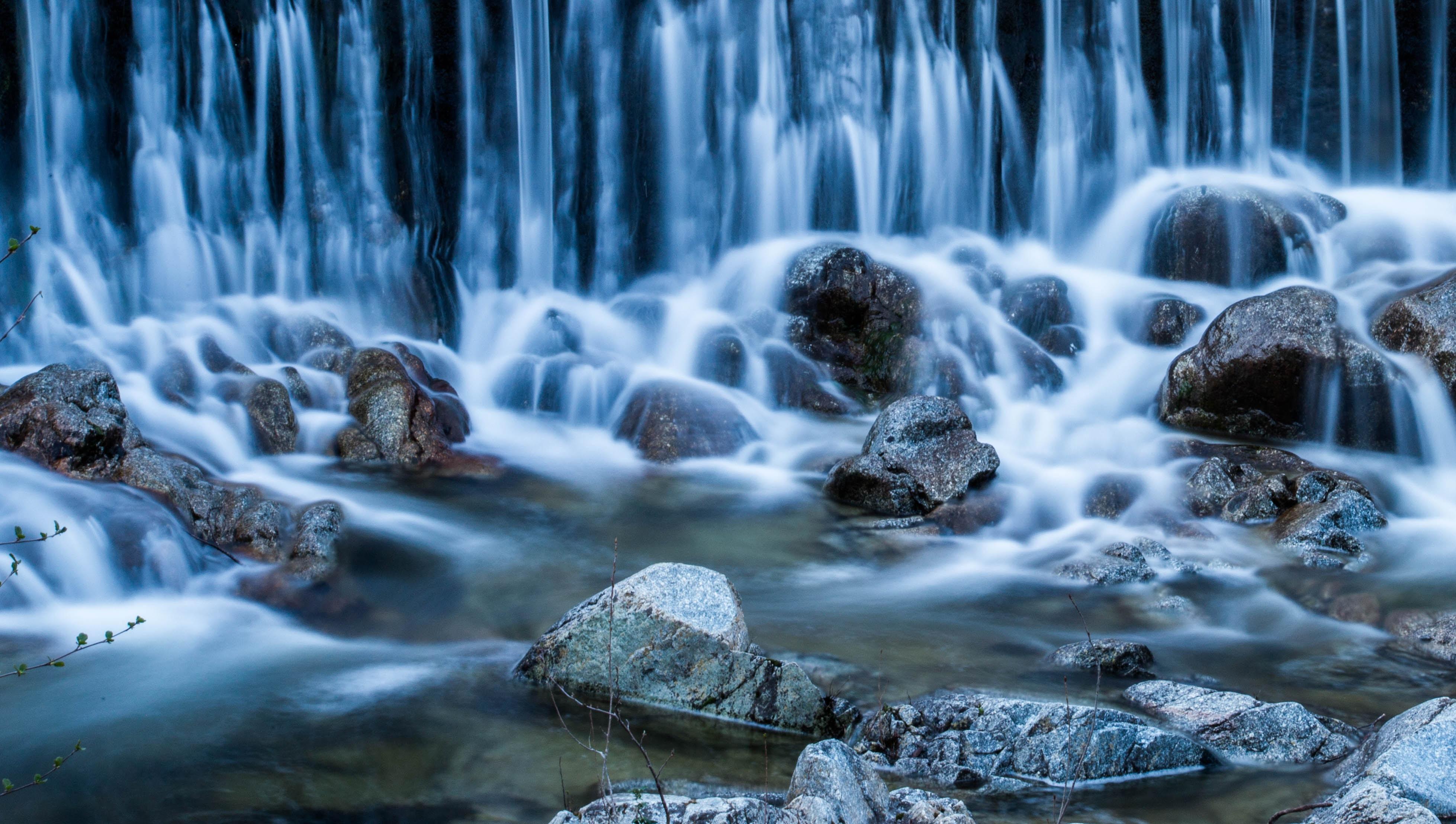 waterfalls digital wallpaper