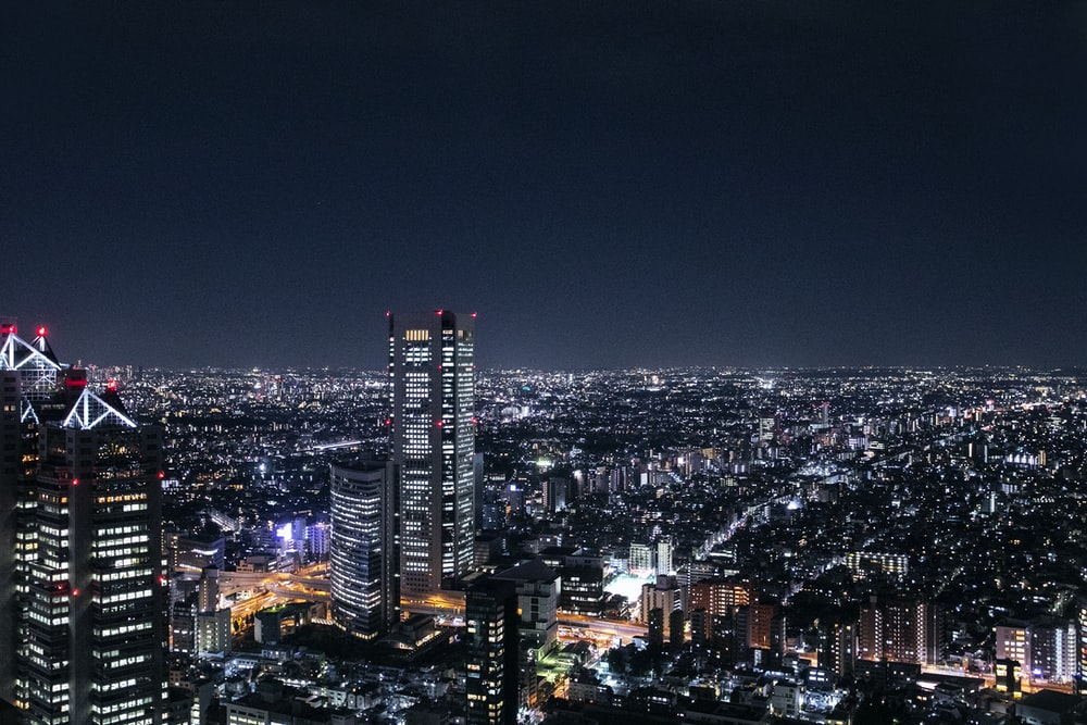 aerial photography of cities scape at night