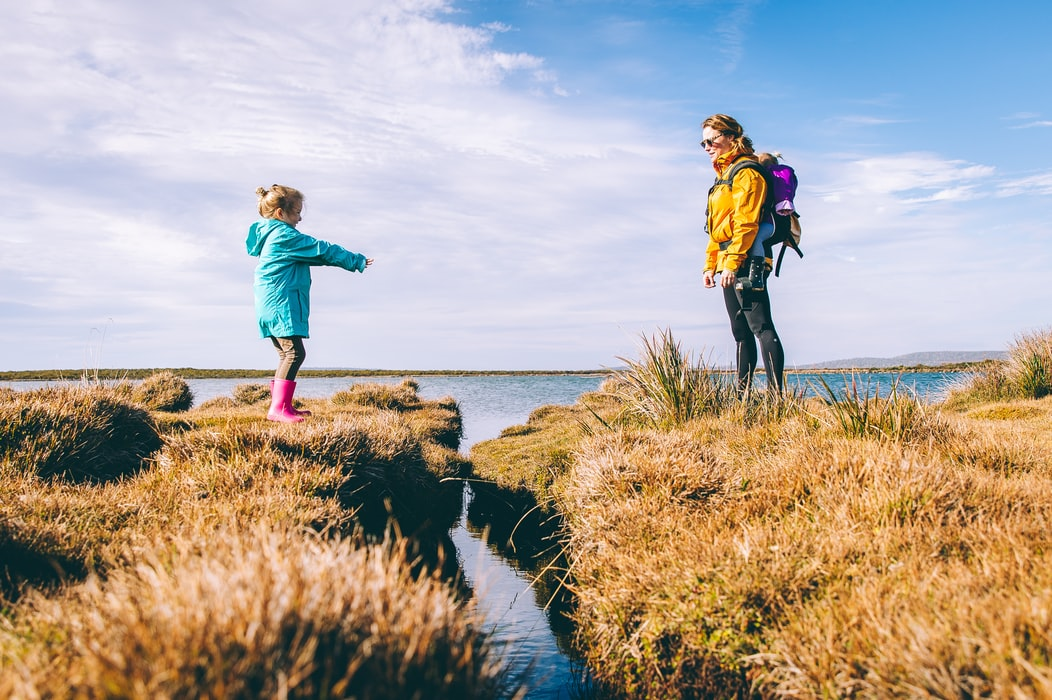 girl and mother hiking