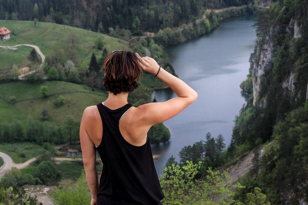 woman overlooking river