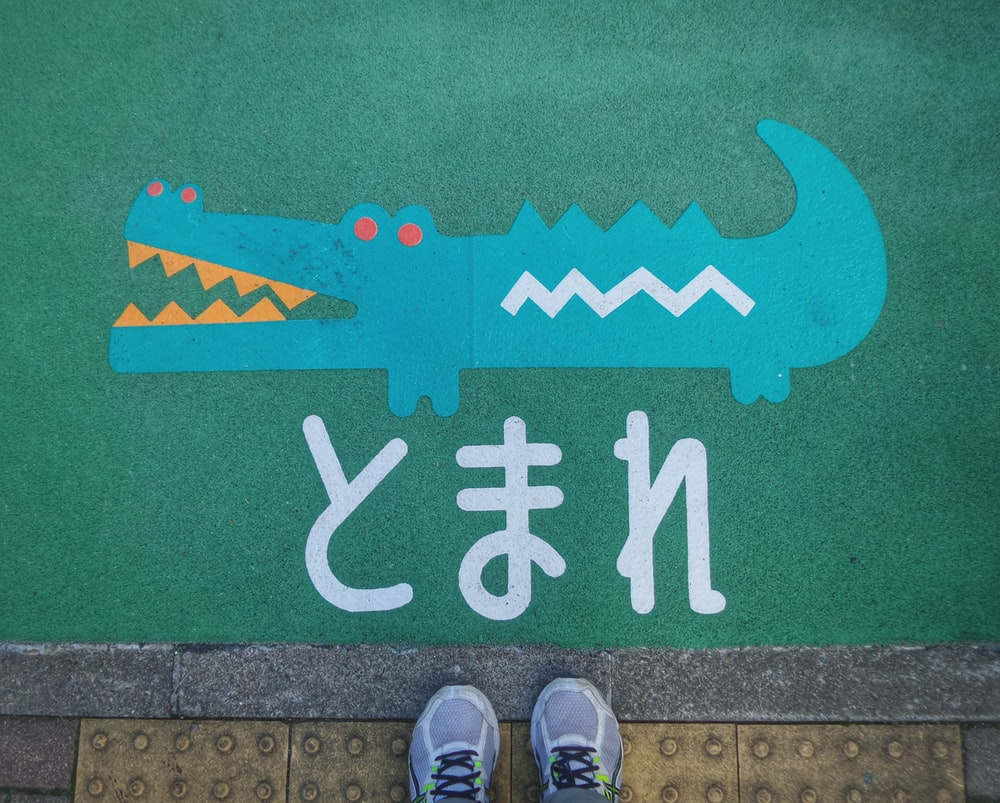 teal crocodile painted ground