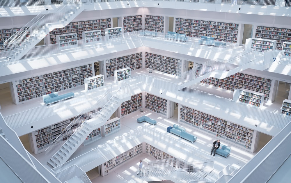 high-raise photography of library