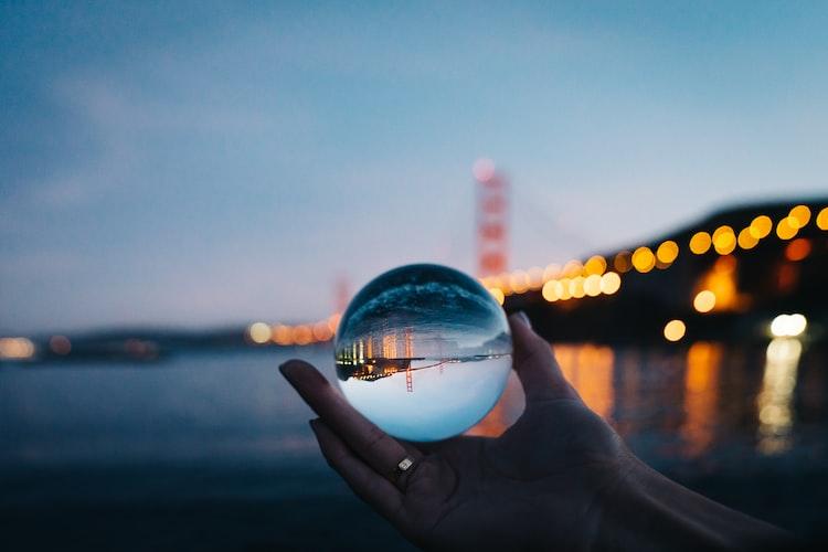 Golden Gate City Night lights crystal prism ball. @sanfrancisco, unsplash.com.