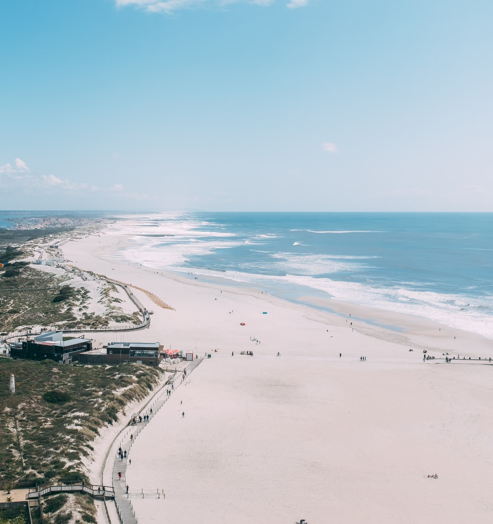 aerial view photography of people walking near sea during daytime