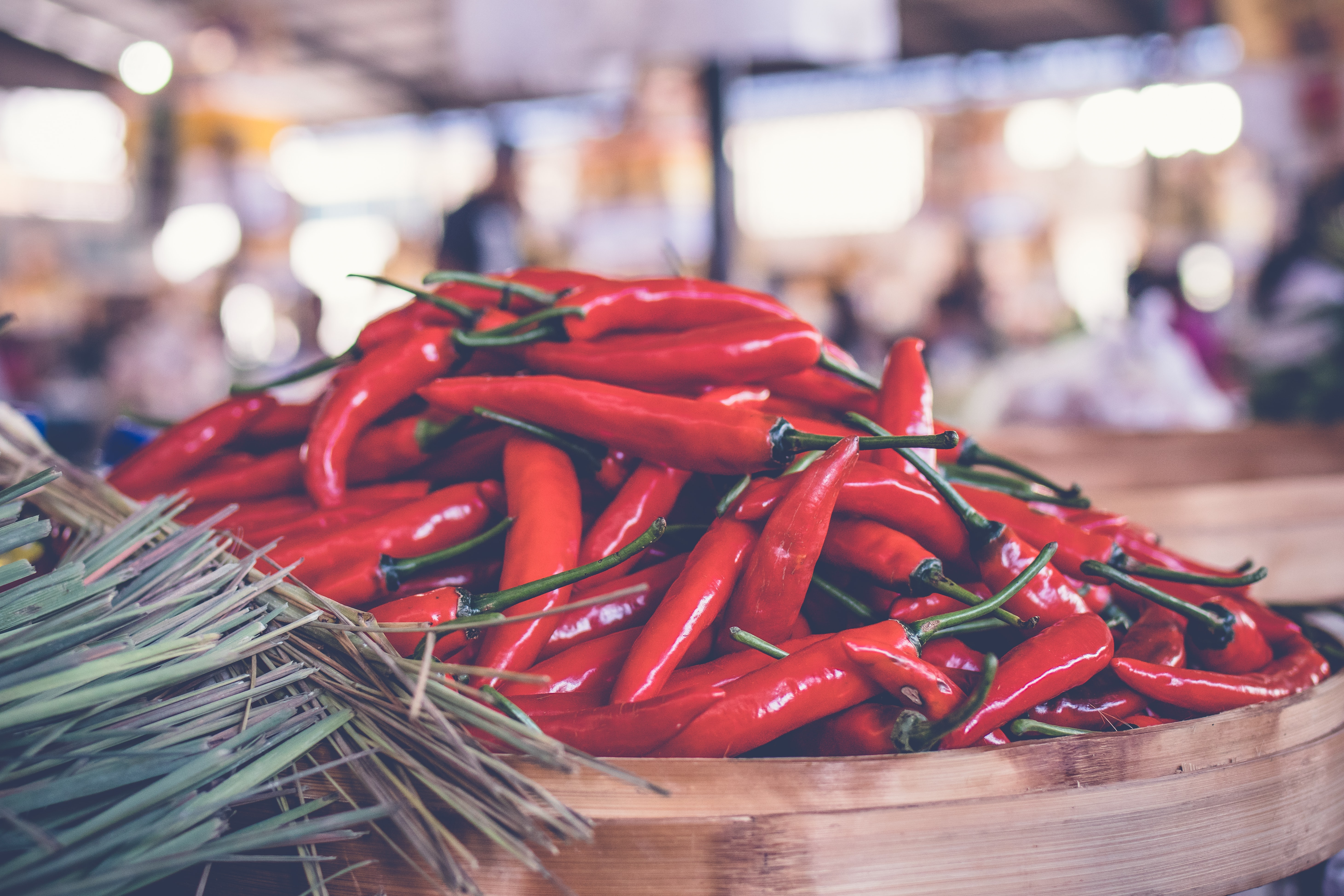 red chili lot on brown basket