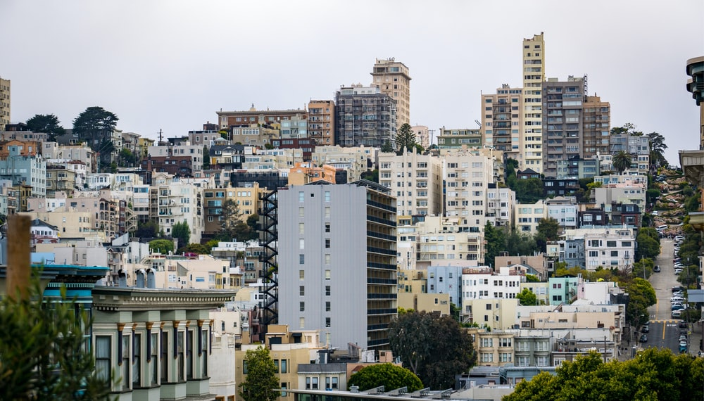 photograph of city high-rise buildings