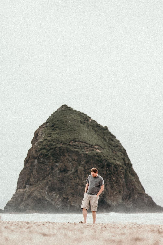 man standing on beach