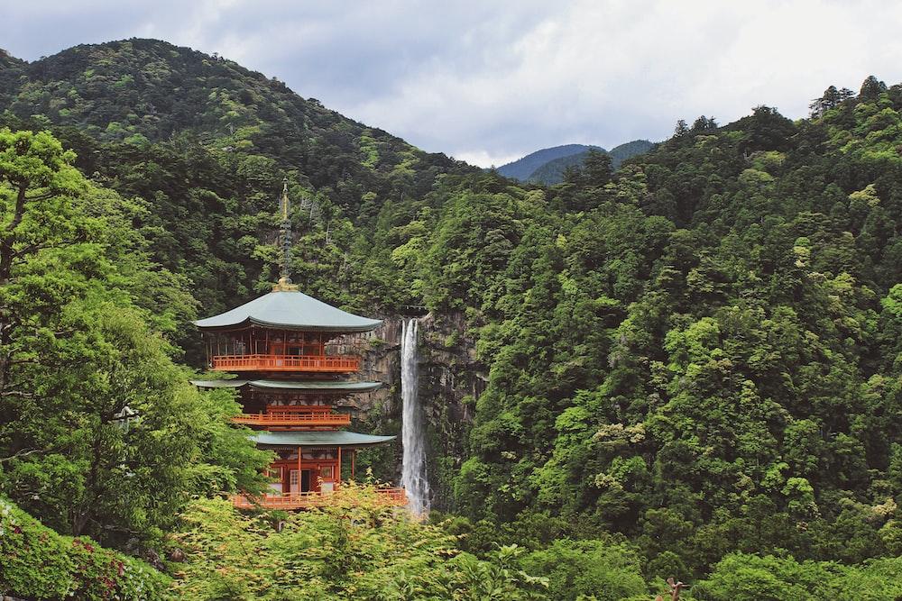 pagoda near waterfalls