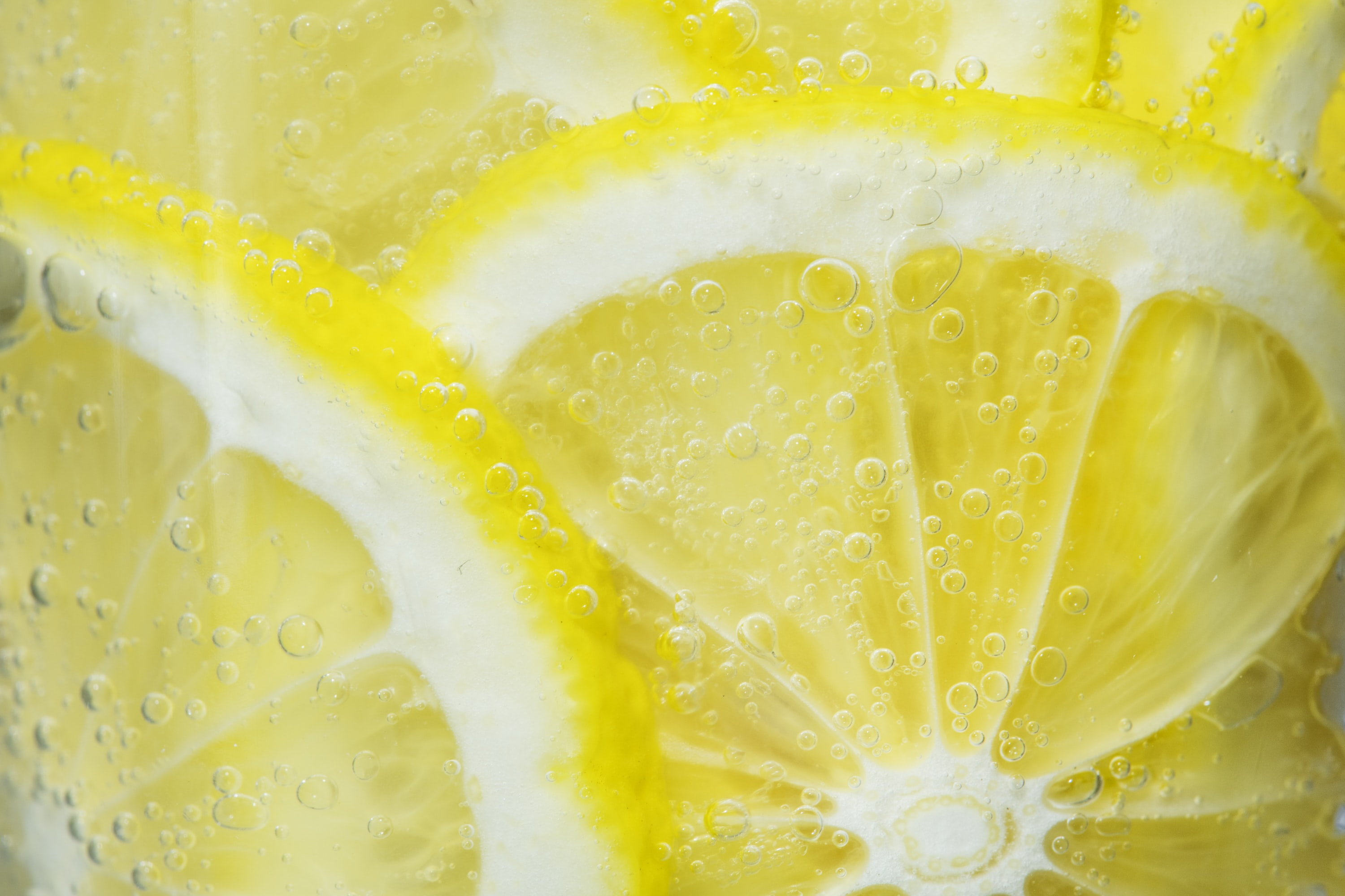 close view of lemon slices in glass