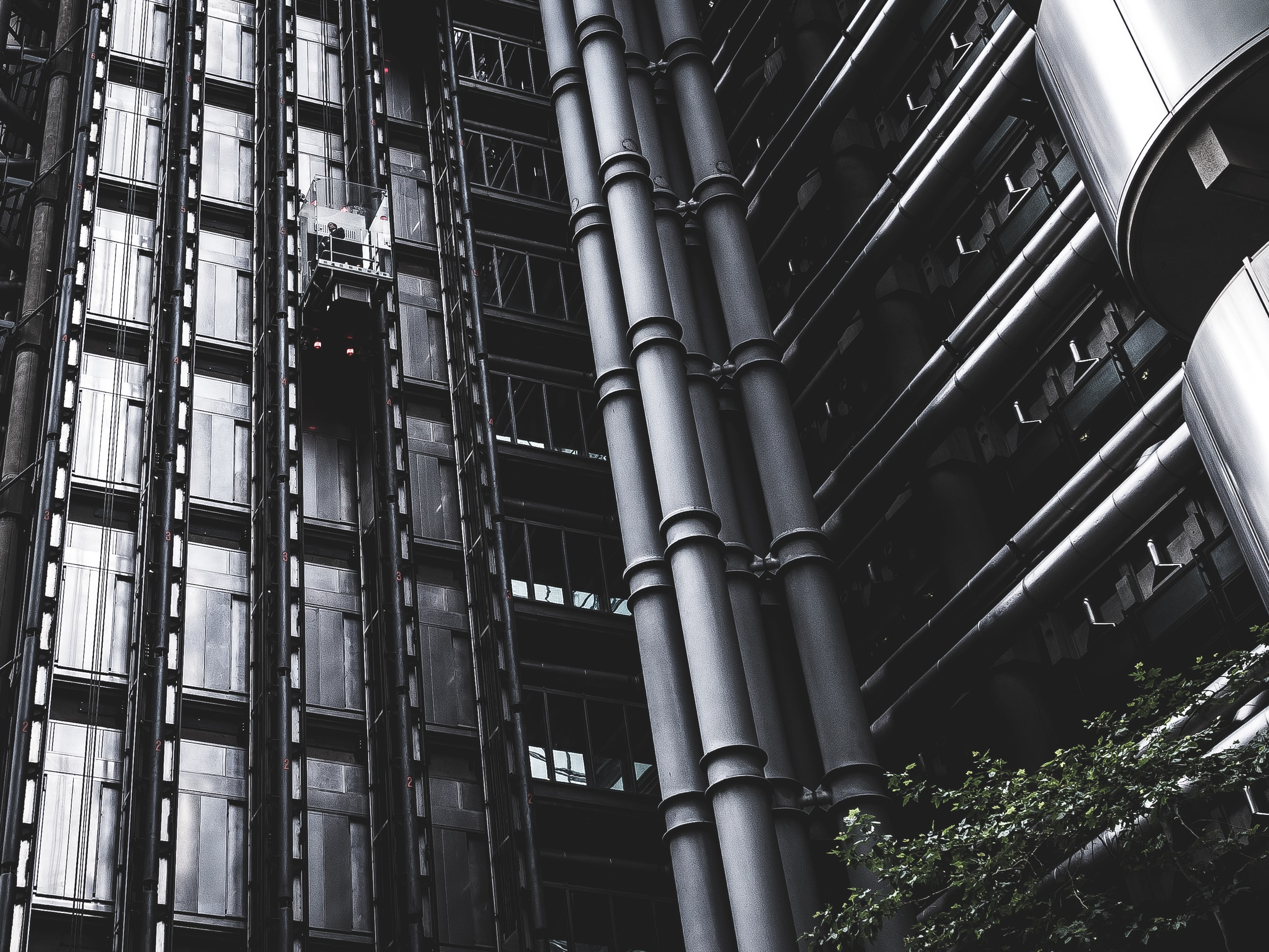 grayscale photography of building with elevator