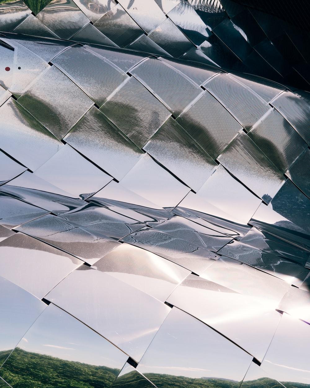 closeup photo of woven silver foil