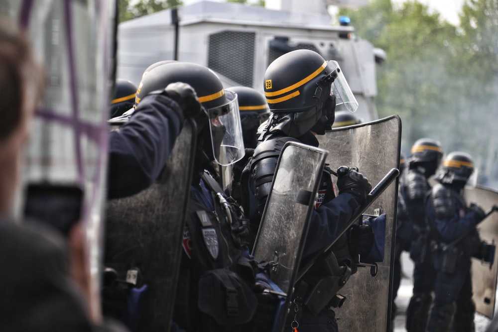 police wearing armors