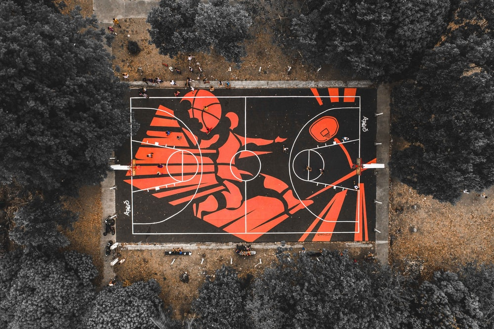 black and red outdoor basketball court