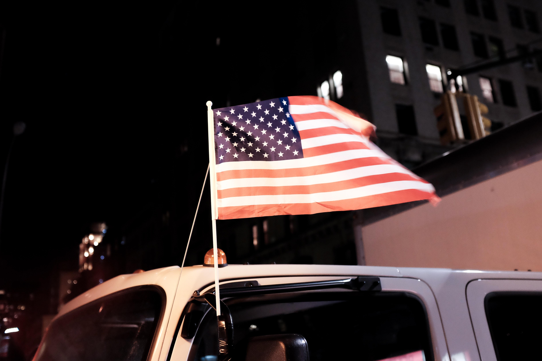 USA Flag on vehicle side mirror