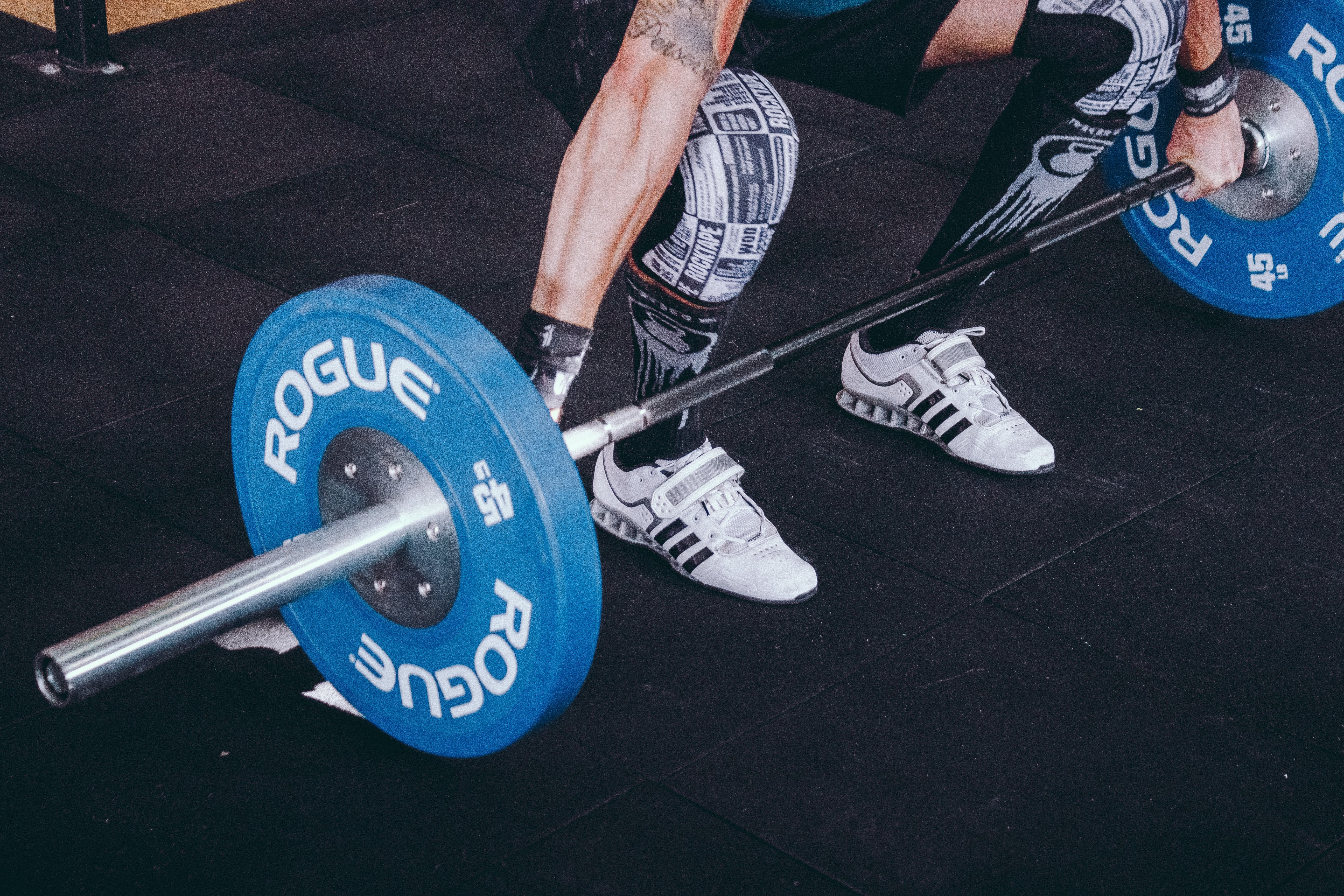 person weight holding blue and gray Rogue barbell