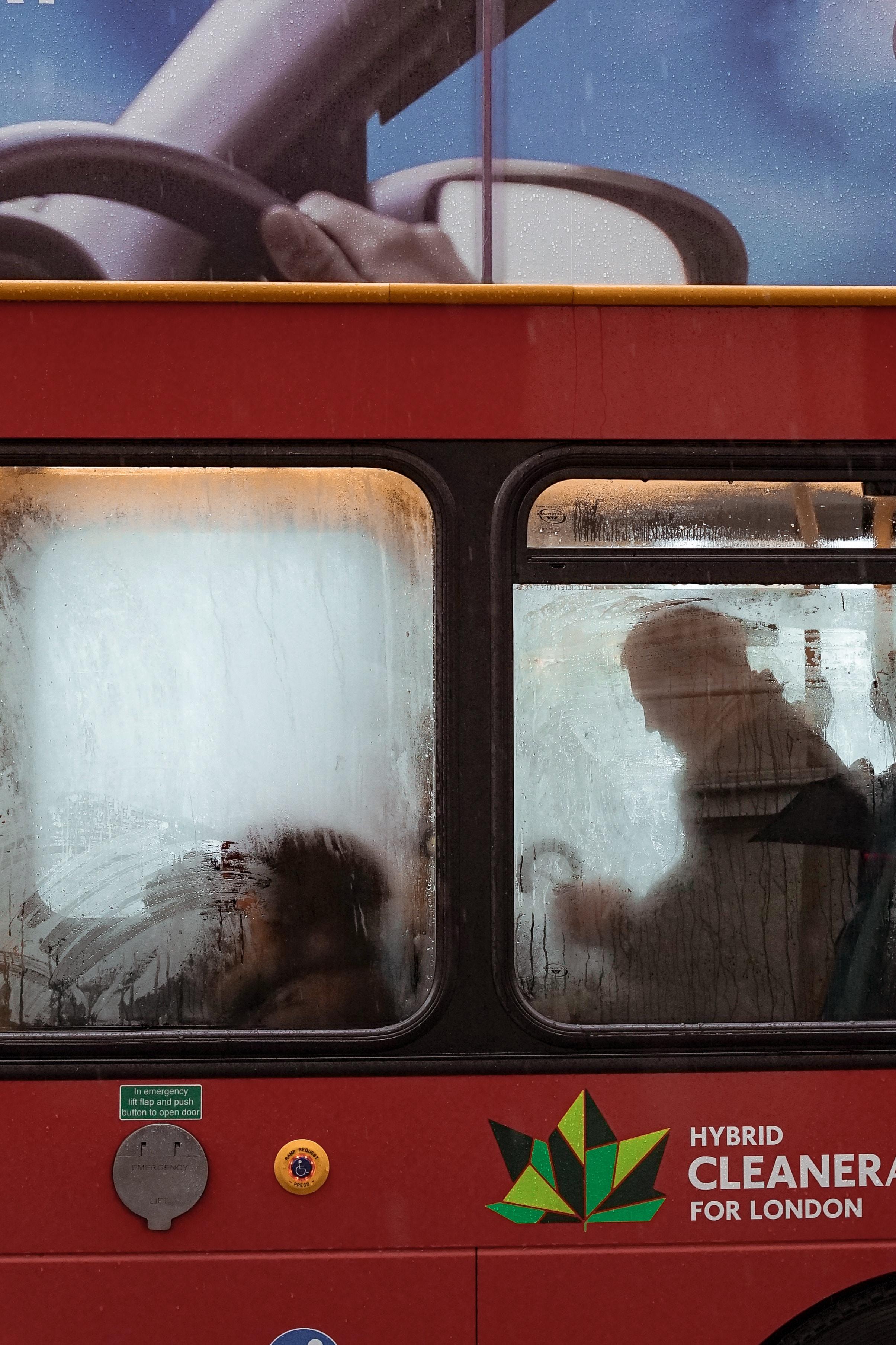 man inside bus